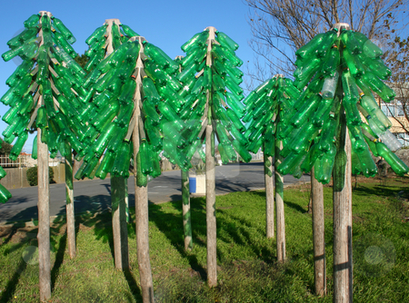 Eco trees stock photo, Botles recycled trees forest by Marc Torrell