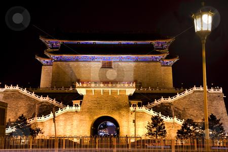 Zhengyang Gate with Streetlight Tiananmen Square Beijing China N stock photo, Zhengyang Gate with Streetlight Tiananmen Square Beijing, China Night Shot by William Perry