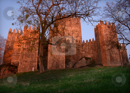 Medieval castle stock photo, Medieval buildings on a green field by night by Marc Torrell