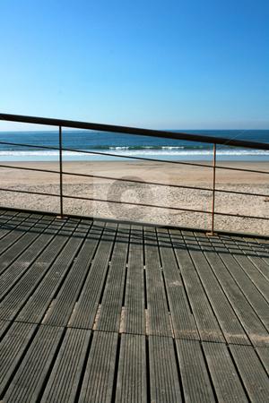 Handrail beach stock photo, Iron handrail of a Mediterranean beach by Marc Torrell