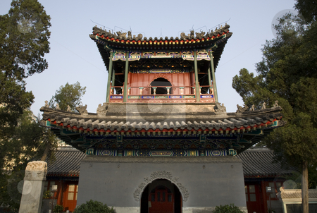 Chinese Minaret Tower Cow Street Niu Jie Mosque Beijing China stock photo, Chinese Minaret Tower and Grave Cow Street Niu Jie Mosque Beijing China  For the Hui Minority  Famous Moslem Mosque in China by William Perry