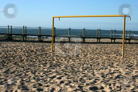 Beach soccer stock photo, Beach soccer yellow goal by Marc Torrell