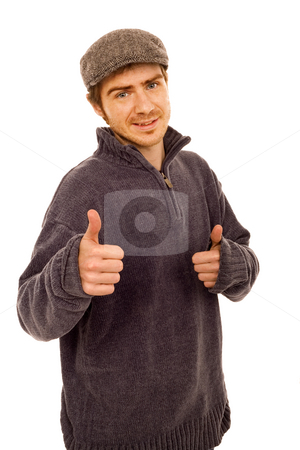 Beautiful smiling man stock photo, Young casual man with hat white isolate by Marc Torrell