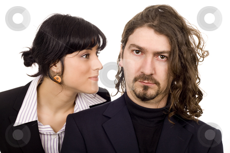 Serious business couple stock photo, Business serious man and woman couple isolated by Marc Torrell