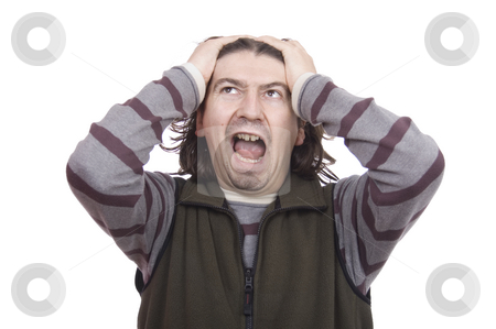 Man stock photo, Young blonde man white isolate screaming by Marc Torrell
