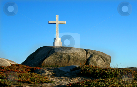 Cross stock photo, White cross on a rock by Marc Torrell
