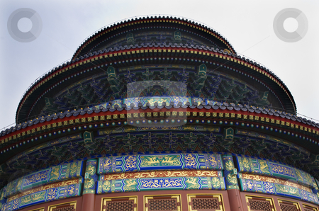Ornate Temple of Heaven Beijing China stock photo, Ornate Colorful Temple of Heaven Looking Up Beijing, China by William Perry