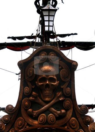 Skull stock photo, Skull on the rear of the pirate boat by Marc Torrell