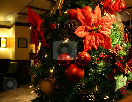 Christmas coming stock photo, Christmas traditional red wood and green tree by Marc Torrell