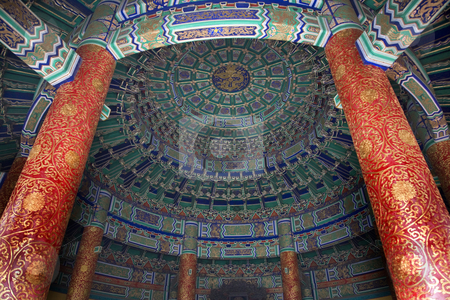 Imperial Vault Inside Temple of Heaven Beijing China stock photo, Imperial Vault Inside Ceiling Pillars Temple of Heaven Beijing China