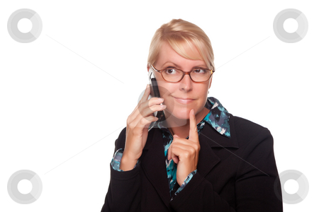 Intrigued Blonde Woman Using Phone stock photo, Intrigued Blonde Woman Using Phone Isolated on a White Background. by Andy Dean