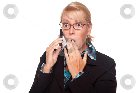 Shocked Blonde Woman on Cell Phone stock photo, Shocked Blonde Woman on Cell Phone Isolated on a White Background. by Andy Dean