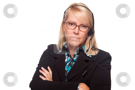 Beautiful Serious Blonde Customer Support Woman stock photo, Beautiful Serious Blonde Customer Support Woman Isolated on a White Background. by Andy Dean
