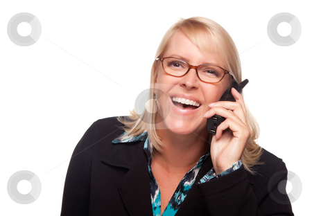 Attracttive Blonde Woman Using Phone Laughing stock photo, Attracttive Blonde Woman Using Phone Laughing Isolated on a White Background. by Andy Dean