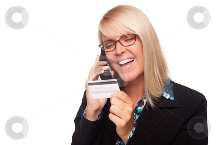 Beautiful Blonde Woman holding Phone and Credit Card stock photo, Beautiful Blonde Woman with Phone and Credit Card Isolated on a White Background. by Andy Dean