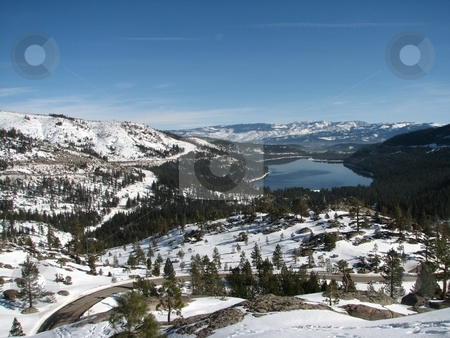 Donner Lake stock photo, Donner Lake California from old Soda Springs Road by John Dickinson