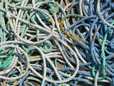 Close up of lots of fishing boat ropes. stock photo, Close up of lots of fishing boat ropes. by Stephen Rees