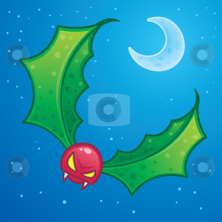 Holly Goblin stock vector clipart, The holly goblin is a mystical creature with holly leaves for wings and a berry for a head. Drawn in a humorous cartoon style. by John Schwegel