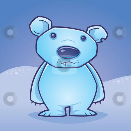 Polar Bear Cub stock vector clipart, Cute polar bear cub standing in a snow covered landscape drawn in a humorous cartoon style. by John Schwegel