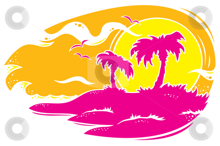 Tropical Sunset stock vector clipart, Vector drawing of a tropical sunset with palm trees. Only three colors used. by John Schwegel