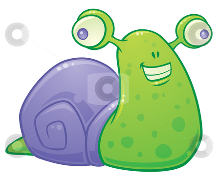 Happy Snail stock vector clipart, Cartoon vector illustration of a happy little snail. by John Schwegel