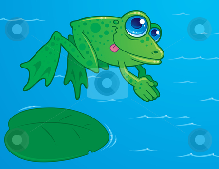 Diving Frog stock vector clipart, Vector drawing of a cute frog diving off of a lily pad into water. Drawn in a humorous cartoon style. by John Schwegel