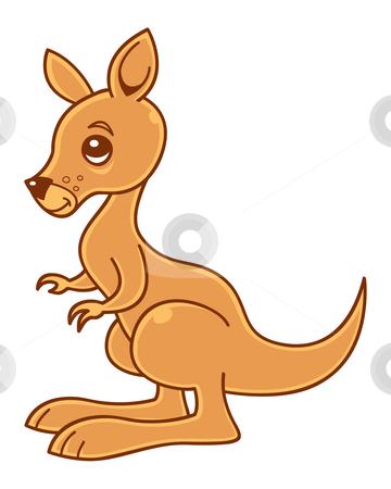 Kangaroo stock vector clipart, Cute little kangaroo vector illustration. by John Schwegel