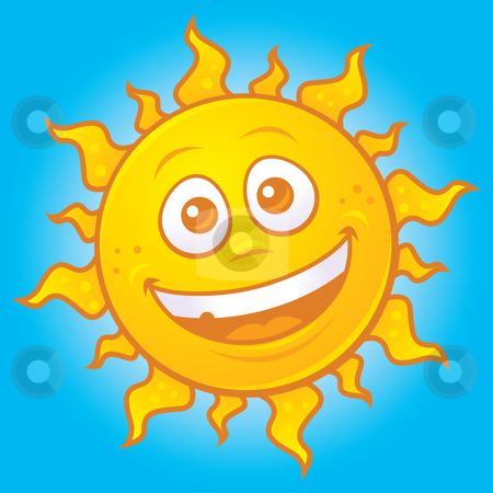 Happy Sun stock vector clipart, Vector cartoon drawing of a happy sun. Great for summer designs. by John Schwegel