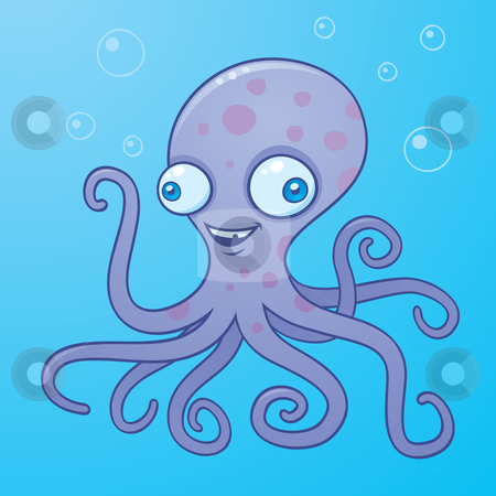 Silly Octopus stock vector clipart, Vector cartoon illustration of a happy octopus in the water with bubbles. by John Schwegel