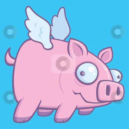 When Pigs Fly stock vector clipart, Cartoon vector illustration of a flying pig. by John Schwegel