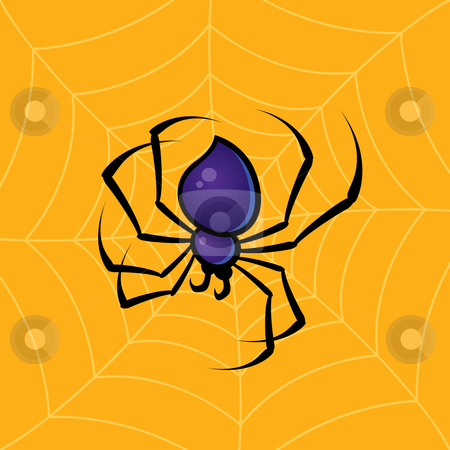 Spider with Web Background stock vector clipart, Vector drawing of a spider with a web background. Great for Halloween decorations. by John Schwegel
