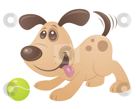 Playful Puppy stock vector clipart, Vector cartoon style drawing of a playful puppy playing with a tennis ball. by John Schwegel