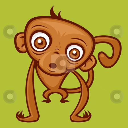 Monkey stock vector clipart, Vector cartoon monkey illustration. by John Schwegel