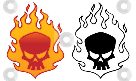 Flaming Skull stock vector clipart, Flaming skull vector illustration. Cool tattoo or logo design. by John Schwegel