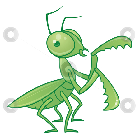 Praying Mantis stock vector clipart, Vector drawing of a cute and friendly praying mantis character. by John Schwegel