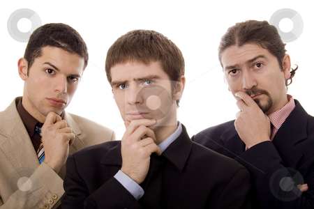 Three men stock photo, Three business young men white isolate portrait by Marc Torrell
