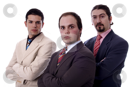 Three young men stock photo, Young business men white isolate by Marc Torrell