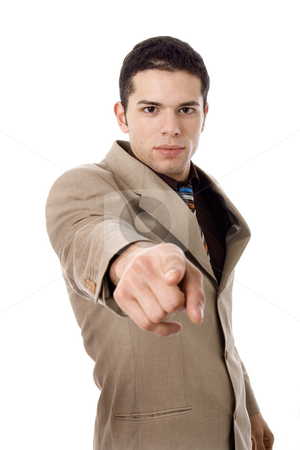 Man stock photo, Finger young business man white isolate by Marc Torrell