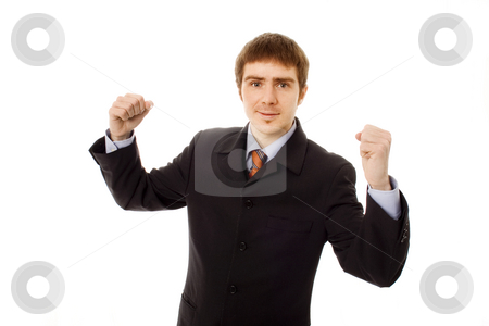 Man stock photo, Young business man white isolate champion hands by Marc Torrell