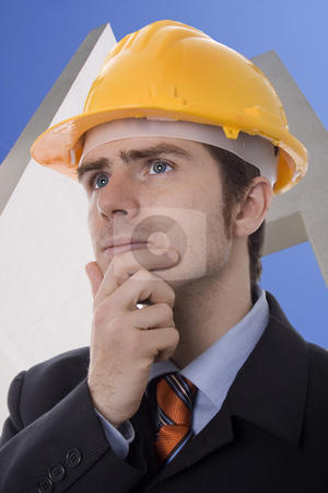 Man stock photo, Young business man white isolate by Marc Torrell