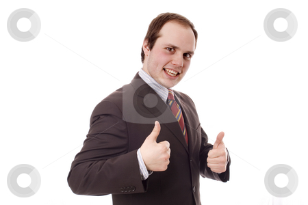 Man stock photo, Ok hand young business man white isolate by Marc Torrell