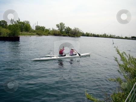 Women Kayaking on Sunny Day stock photo, Women Kayaking on Sunny Day by CHERYL LAFOND