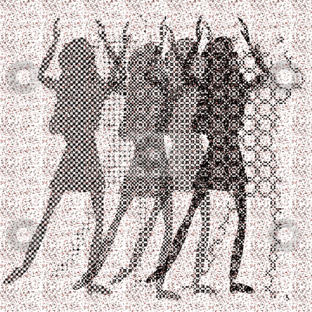 Halftone raster dancing girls stock vector clipart, Halftone raster dancing girls on dots background by Karin Claus