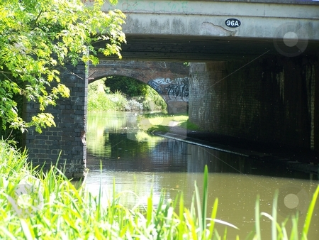 Canal bridge scene stock photo, Canal bridge in leicestershire by Lee Measures