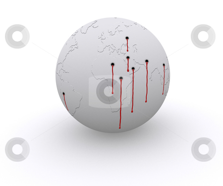 Shooted World stock photo, Leaders and politics are killing the planet with war and destruction by Nuno Andre