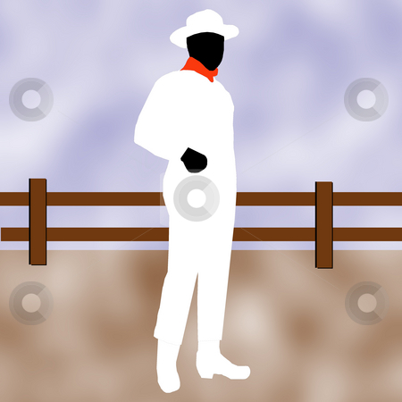 Cowboy in white stock photo, A cowboy in white standing in front of a wooden fence. by Karen Carter
