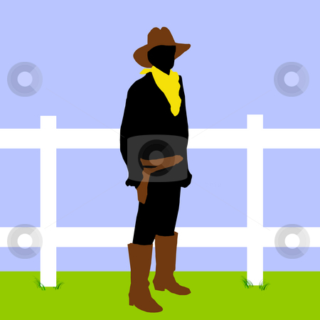 Cowboy on ranch stock photo, A cowboy in black on a background of blue and green with a white fence. by Karen Carter