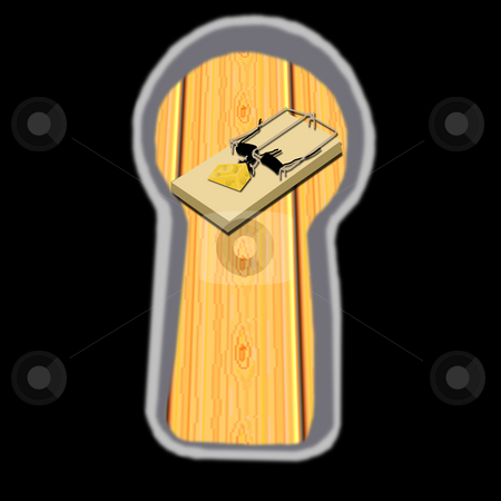 Mouse Trap through a Keyhole stock photo, A mouse trap being watched through a door's keyhole. by Karen Carter