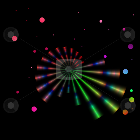 Rainbow Bubbles stock photo, Rainbow rays and bubbles spread out against a black background. by Karen Carter