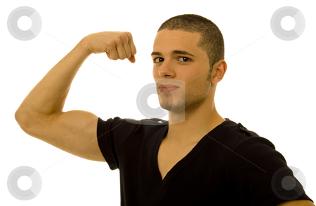 Stronger stock photo, Young man showing his srong arm by Marc Torrell